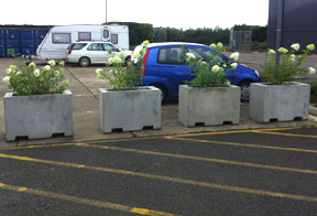 concrete barrier with planter