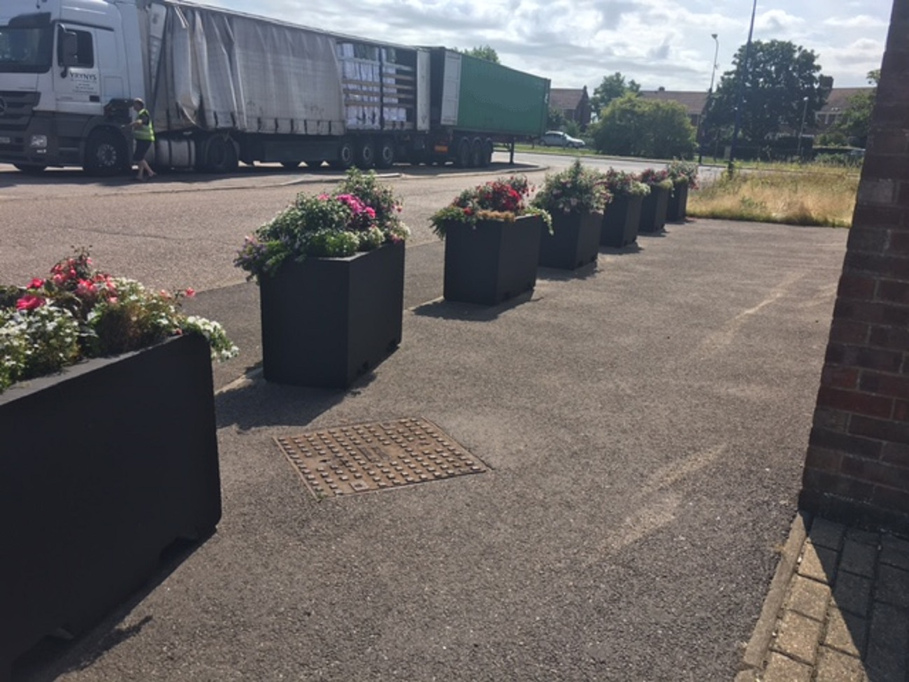 Concrete barriers blocks planters