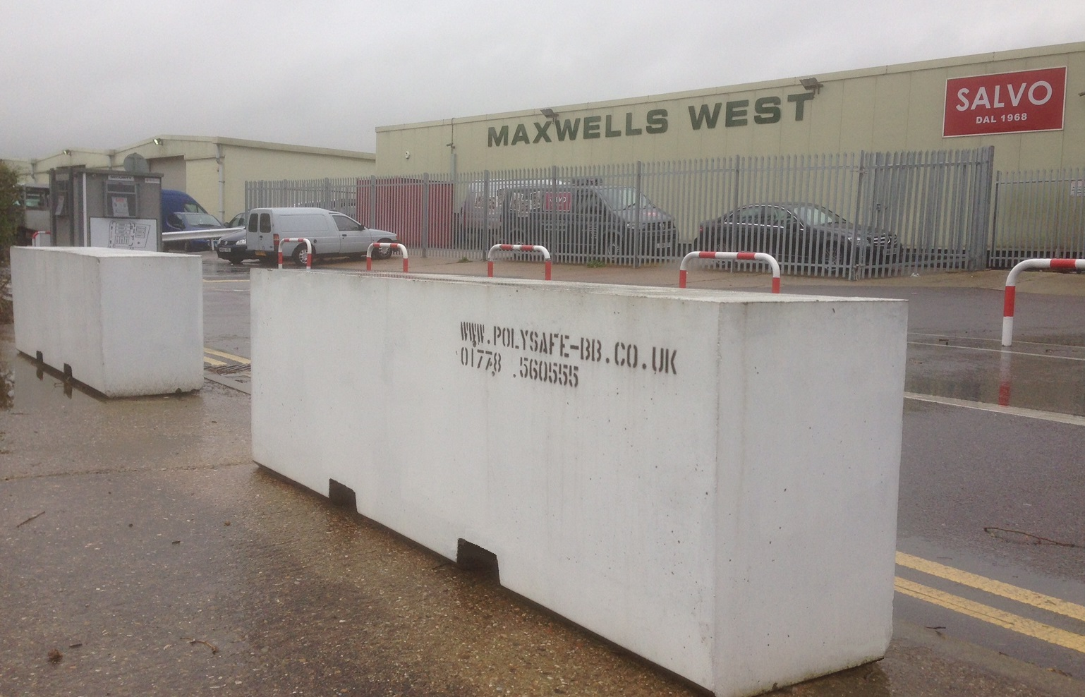 Concrete barriers at Maxwells, Waltham Cross
